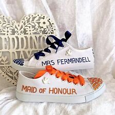 Wedding Bridal Trainers Shoes. Personalised with Rhinestones. UK Sizes 3-8