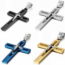 Fashion Men Men's Stainless Steel Cross Hallow Charm Pendant Necklace Chain Gift