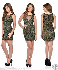 SEXY GREEN HAND BEADED FULL SEQUIN BODYCON EVENING COCKTAIL PARTY DRESS S M L XL