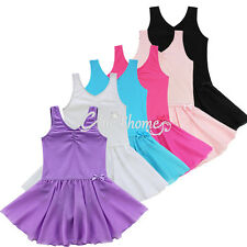 Girls Gymnastics Ballet Dance Tutu Dress Leotard Skirt Costume Dancewear 2-14Y