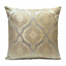 Baby Blue and Ivory beige Satin Blend Pillow Cover w/ Floral Pattern,Home Decor