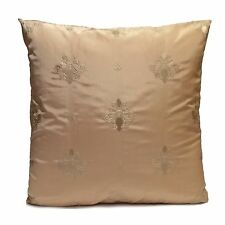 Cream Silk Blend Decorative Throw Pillow Cover with Floral Pattern embroidery