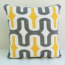 Premier Yellow and Gray on White Cotton Decorative Throw Pillow Cover,Modern