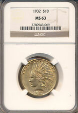 1932 P $10.00 INDIAN U.S. GOLD NGC CERTIFIED MS-63  POPULAR GOLD COIN