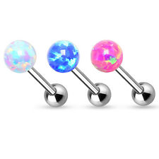 1 Pc Pink White Blue 6MM Natural Fire Opal Tongue Ring Internal Threaded 14g 5/8