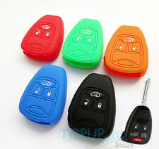 FIT FOR JEEP CHRYSLER DODGE SILICONE KEY REMOTE CASE COVER SHELL FOB HOLDER