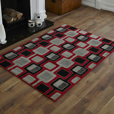 NEW MODERN RED BLACK CHAIN PATTERN SMALL MEDIUM LARGE X LARGE CHEAP SOFT RUGS
