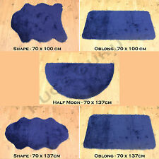 HIGH QUALITY PLAIN FLUFFY WASHABLE SOFT FAUX FUR DARK BLUE COLOUR SHEEPSKIN RUGS