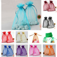 50 Strong Sheer Organza Pouch Bags Wedding Favor Gift Candy Bag Decor 10 x 15cm
