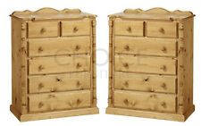 HANDMADE SOLID PINE SET OF 2 ASHBOURNE CHEST OF DRAWERS - FULLY ASSEMBLED
