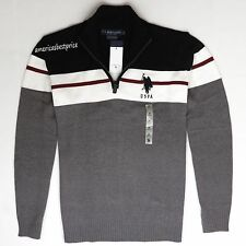 US POLO ASSN NEW MENS 1/2 ZIP MOCK NECK SWEATER,NWT,VERY NICE,RETAIL $60.00