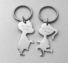 PERSONALIZED SILVER HIS & HERS KISSING COUPLE KEYCHAIN SET CUSTOM ENGRAVED FREE