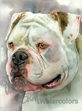 American Bulldog Dog Art Print of Watercolor Painting Artist Signed BEAR WITH ME