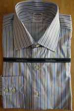 NWOT Brooks Brothers Egyptian Cotton Blue Stripe Spread Collar  Retail $168