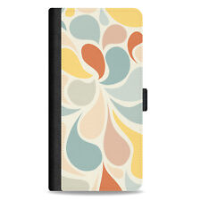 Leather Wallet Cover Card Holder Flip Case For iPhone – Retro Colour Blobs