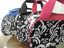 Black DAMASK Insulated Lunch Tote Bag Thermal Sack Travel Zipper Pink Blue NEW