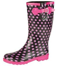 Festival,Rain,Snow Polka Dot  Wide Calf Biker Style Wellies Wellington Boots