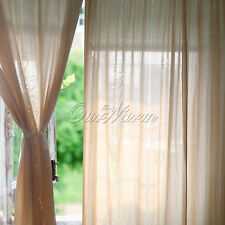 Retro Tab Top Embroidered Lace Curtain Hollow Out Cotton Linen Crochet Panel