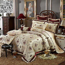 Luxury Floral New Queen/King Size Bed Quilt/Doona/Duvet Cover Set Gold 100%Satin