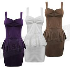 Ladies Peplum Dress Mini Sexy Casual Celeb Fashion 8-14