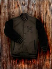 Men's Brown Letterman Baseball Varsity Jacket College School Team Jersey Coat
