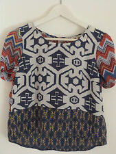 RIVER ISLAND Aztec Tribal Print Top Size 8