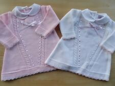 2 pcs Broderie Anglaise Traditional Baby White Pink Bow Dress Bloomers 0-3-6-9 m