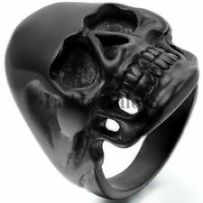 Men's Vintage Gothic Biker High Polished Black Stainless Steel Skull Ring Band