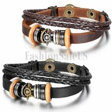 Unisex Punk Vintage Tribal Sun Beads Multilayer Leather Strap Bracelet Wristband
