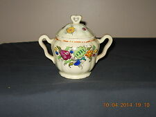 """Mikori Ware Vintage 6 1/2"""" Covered Hand Painted Sugar Bowl Made In Japan"""