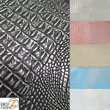 METALLIC AFRICAN CROCODILE EMBOSSED VINYL FABRIC SOLD BY YARD 2 TONE LEATHER