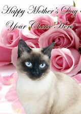 Siamese Cat Mothers Day Personalised Greeting Card pidmother Mum Mummy