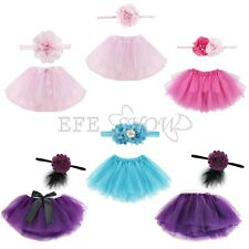 Newborn Toddler Baby Girl Photo Prop Outfit Tutu Skirt & Headband Dress Costume
