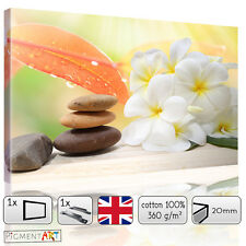 LARGE FLOWERS FLORAL ZEN CALMING STONES - CANVAS WALL ART FRAMED PRINTS PICTURES