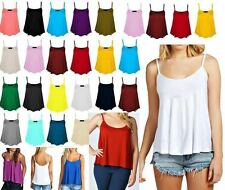 New Womens Plain Swing Vest Sleeveless Top Strappy Cami Ladies Flared *cmism