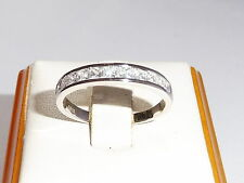 Ladies Sterling 925 Solid Silver Princess Cut White Sapphire Eternity Ring