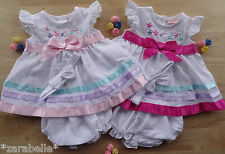 3pcs Traditional Embroidered Baby White Pink Bow Dress Knickers Headband 0-3-6-9