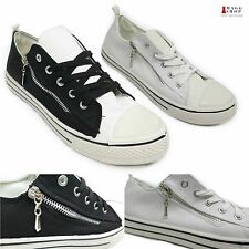 New Women's Platform Black Low Top Canvas White Skateboard Punk Sneakers Shoes