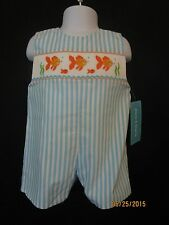 SMOCKED TURQUOISE & WHITE STRIPE JON JON W/ ORANGE FISH CLAIRE & CHARLIE