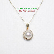 14k Solid Yellow Gold Surround 20 Diamonds AAA White Cultured Pearl Pendant TPJ