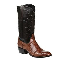 "Lucchese M1635 14 ""Charles"" Mens Sienna Caiman Crocodile Belly Boots"