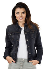 New Ladies Womens Black Faded Fitted Stretch Denim Jacket Jeans Jacket