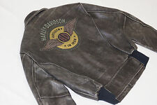 Harley Davidson Men WINGED HD Vintage Classic Biker Distressed Leather Jacket L