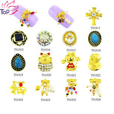 Top Nail 10pcs 3D Nail Art Metal Gold Rhinestone Charms ManicureS TN1814-TN1826