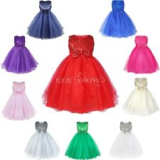 Flower Girl Dresses Birthday Wedding Party Bridesmaid Formal Pageant Bow Dress