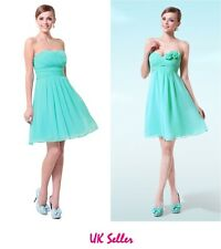 NEW Aqua Strapless Ruffles Padded Chiffon Cocktail Day Evening Party Dress 8-18