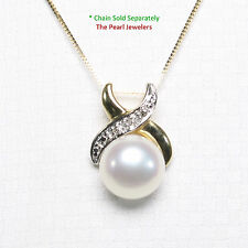9.5-10mm Natural White Cultured Pearl Pendant 14K Solid Yellow Gold Diamonds TPJ
