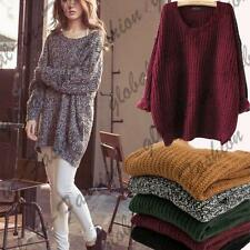 Womens Oversize Knitted Sweater Batwing Sleeve Tops Cardigan Loose Outwear Coat