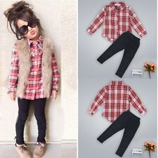 Toddler Kids Baby Girls Clothes T-shirt Shirt Tops + Pants Trousers Outfits Sets