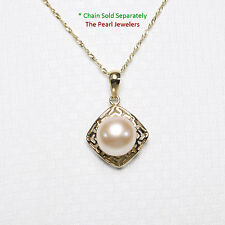 14k Solid Yellow Gold Greek Key Design Genuine Pink Cultured Pearl Pendant TPJ